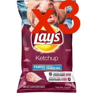 3Large-Bags-of-Lay-039-s-Canadian-Ketchup-Catsup-Potato-Chips-255g-Family-Size-FRESH