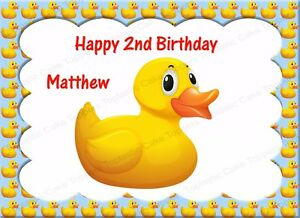 Personalised Rubber Duckie Duck Edible Icing Birthday Party Cake