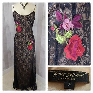 Image Is Loading Vintage Betsey Johnson Dress Black Lace Embroidery Lique