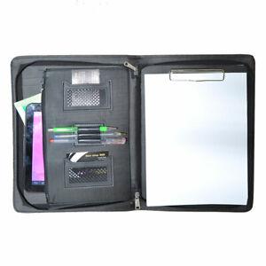Cartellina-porta-blocco-documenti-note-A4-clip-tasche-cartella-uomo-chiusura-zip
