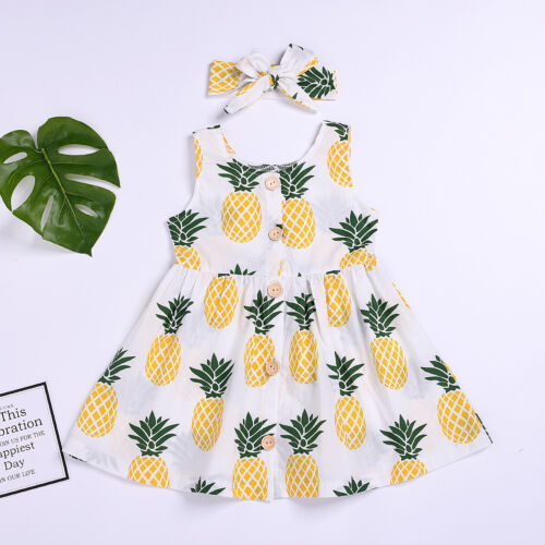 2Pcs Dress Headband Floral Printed Toddler UK Girls Kids Fun Thermal Baby Tops