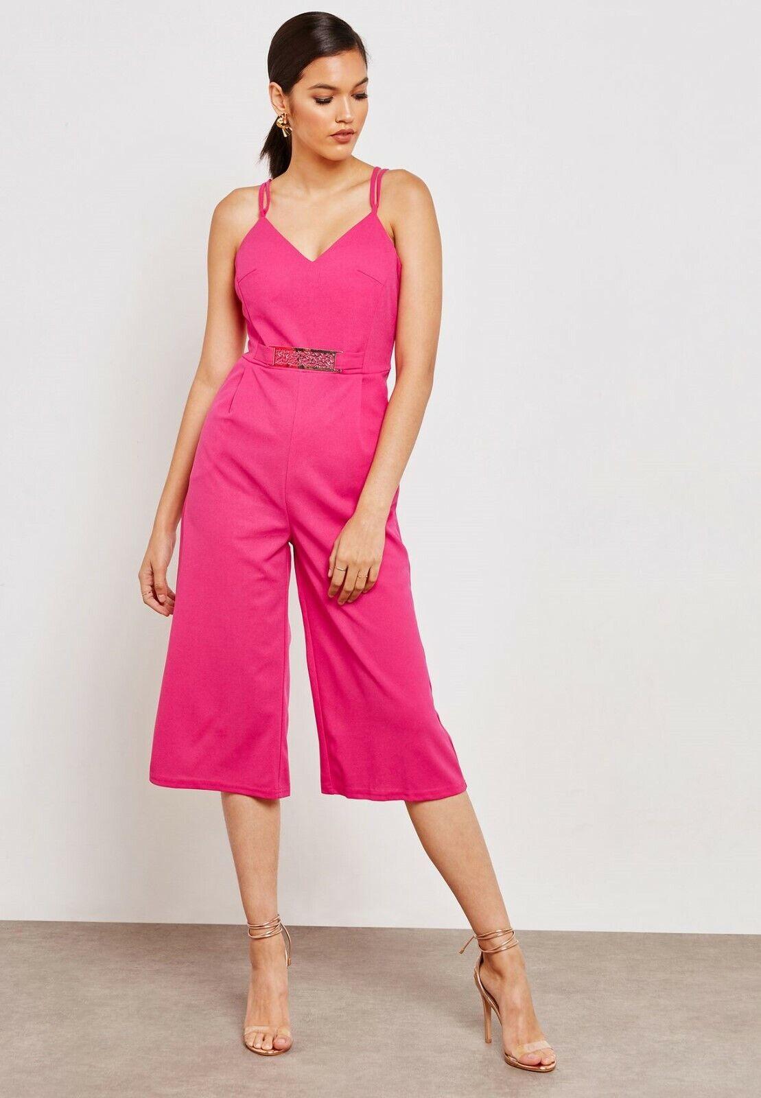 Mela London - Pink Belted Culottes Jumpsuit