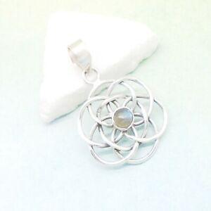 Labradorit-grau-blau-Mandala-Design-Amulett-Anhaenger-925-Sterling-Silber-neu