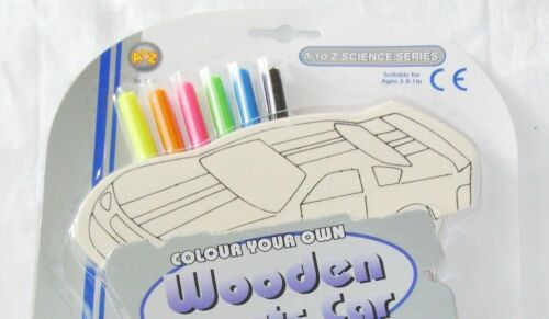 NEW COLOUR YOUR OWN WOODEN SPORTS CARS CRAFT SET WITH 6 PENS 7874 PADG