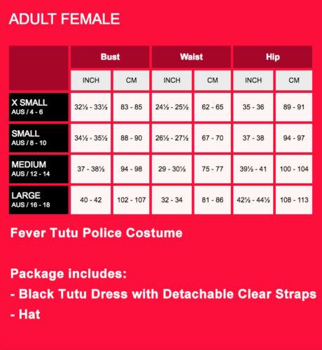 Womens Police Woman Costume Black Tutu Officer Lady Uniform Cops Fancy Dress Hat