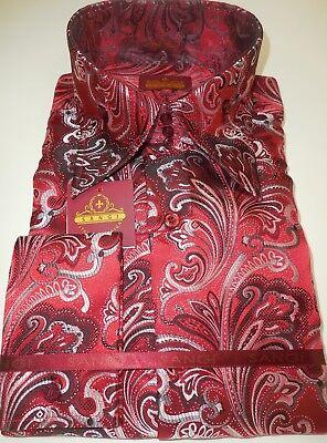 Mens Black Colorful High Collar Jacquard Shirt SANGI ROME COLLECTION # 2003