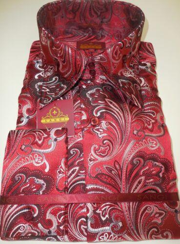 Colección alto cuello hombre alto y y rojo Rome con cuello Camisa de 2005 Sangi Paisley para negro IXOBRw