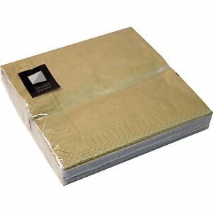 3-Ply-Gold-Paper-Napkins-33-x-33cm-Square-Party-Serviettes-Tableware-Catering