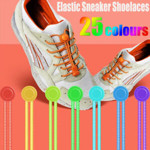 No Tie Elastic Lace System Easy Lock Shoe Laces Shoelaces Runners Adults Kids