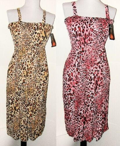 2 Womens Size Large XL  Summer Sundress Beach Cover up Elastic Stretch Leopard