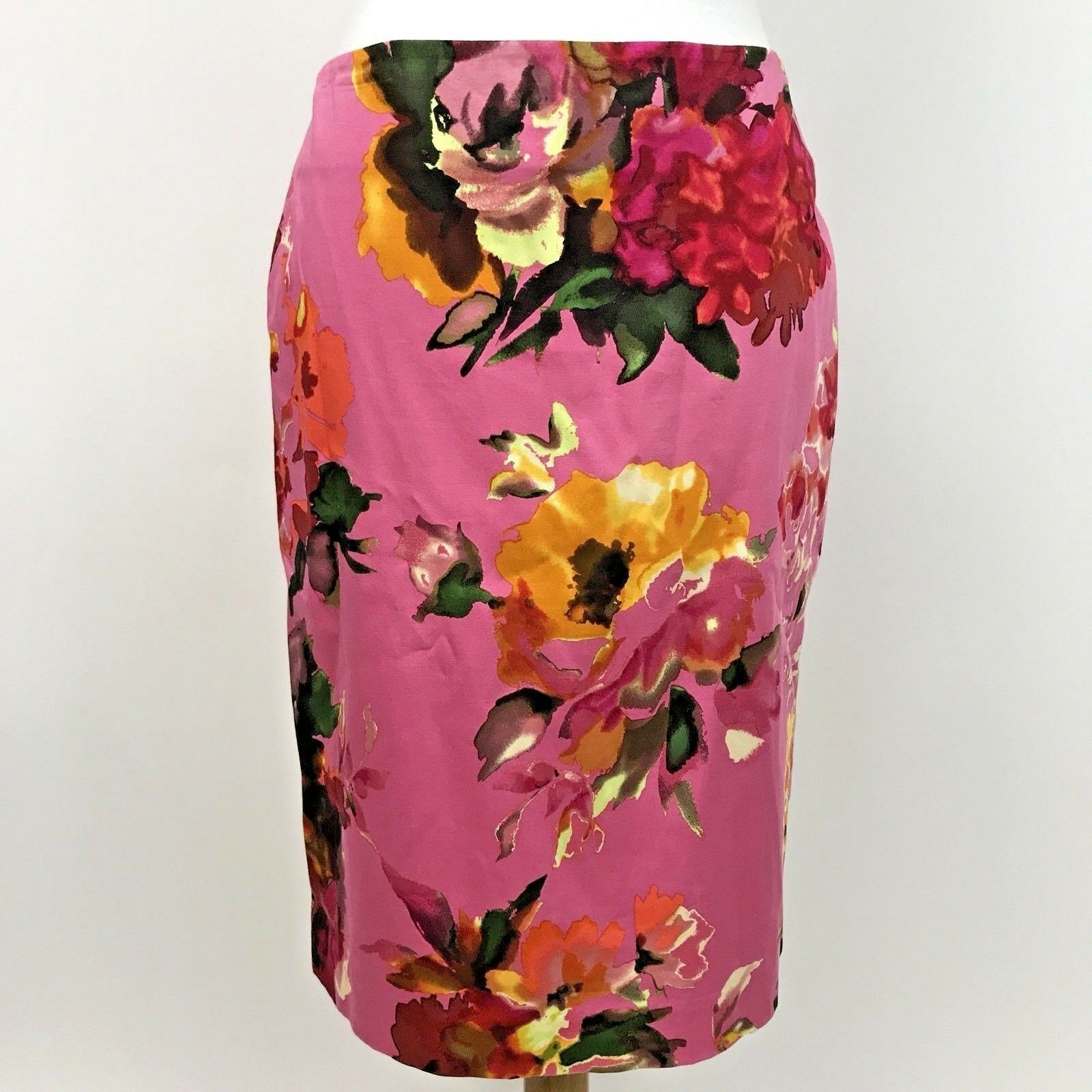 Talbots Women's Skirt Straight Pencil Watercolor Floral Pink Size 6 Petite NWT