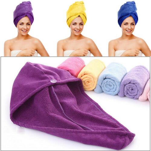 Adult 60X50CM Quick Dry Hair Terry Towel Turban Head Loop Button Wrap Microfiber