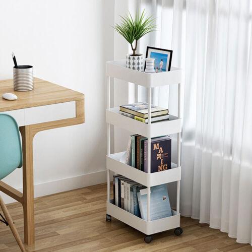 3//4//5 Tier Slim Storage Cart Kitchen Rack Bedroom Shelf Mobile Organizer Trolley