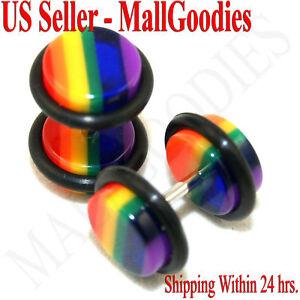 0554-Acrylic-Fake-Faux-Cheaters-Illusion-Ear-Plugs-0G-Rainbow-Gay-Pride-16G