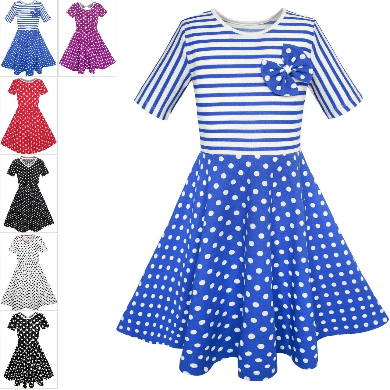 Girls Dress Black White Dot Tulle Party Pageant Size 4-12 Formal Pricess