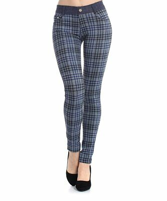 Intelligente Donna Leggings Taglia 6 Blu Plaid Sul Davanti Pantaloni Pull On-mostra Il Titolo Originale