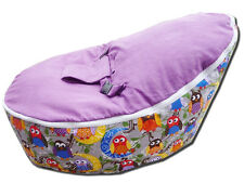 Baby Bean Bag - Unfilled With 2 Removable Covers & Harness - Quality Owl Design
