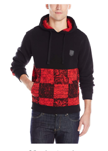 9e96b35944a8 Southpole Men s Hooded Pullover Fleece with Checked Pattern - Red ...