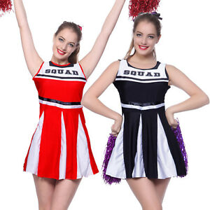 Cheerleader-Fancy-Dress-High-School-Girl-Sports-Outfit-Uniform-Costume-w-Pompoms