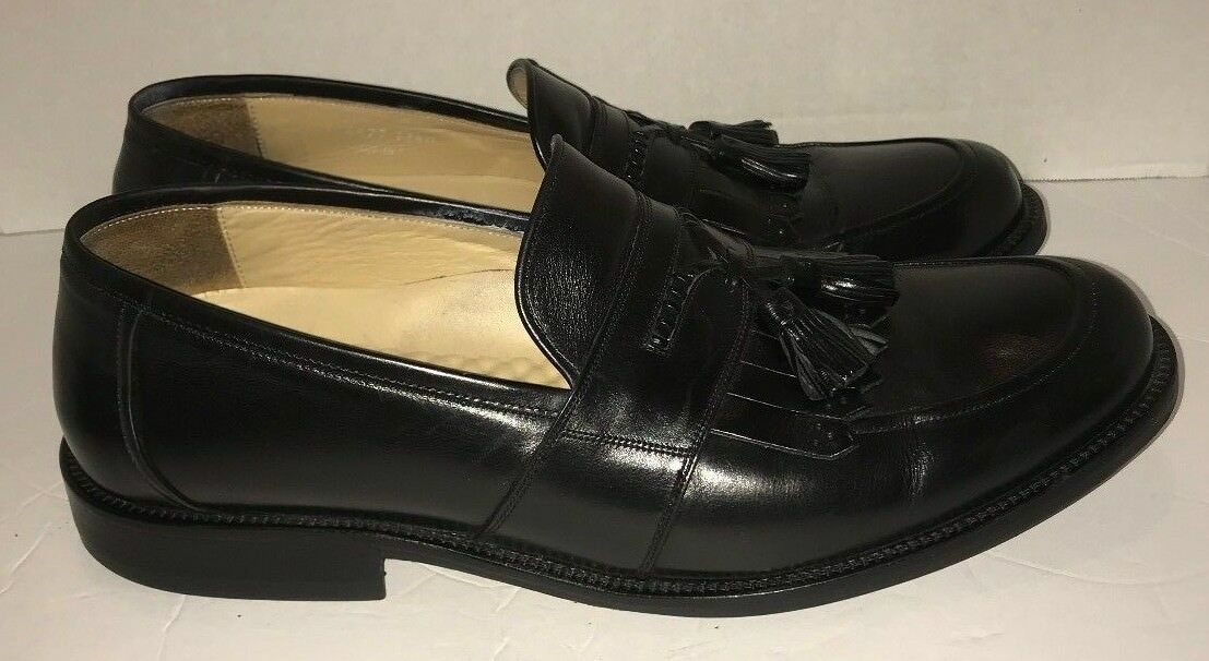 Mens Johnston & Murphy Black Tassel Leather Loafers Size 11.5