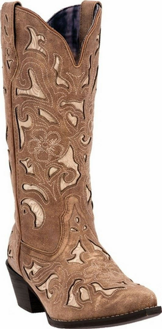 LADIES LArougeO SHARONA TAN CRACKLE SANDED GOAT W  BONE INLAY WESTERN bottes 52041