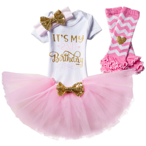 It/'s My 2nd Birthday Tutu Dress Romper Skirt Party Outfits Photography Costume