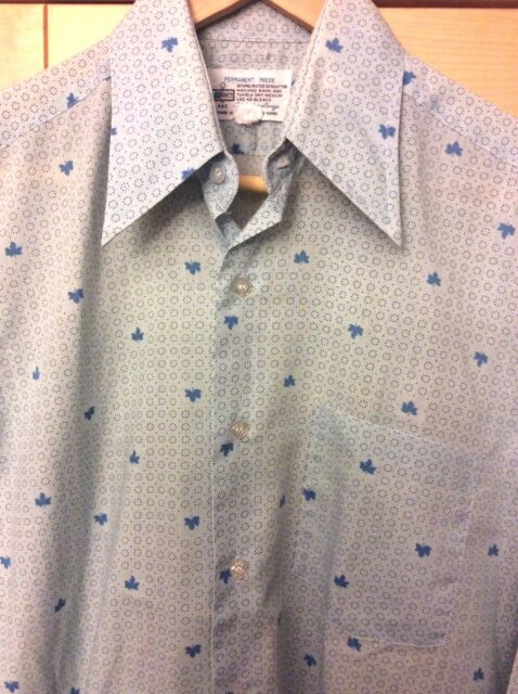 Vintage Men's Mid Century Mod Blue Circles Leaves Long Sleeve Shirt 14 1/2-32, S