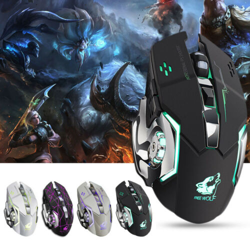 FREE WOLF X8 Rechargeable Wireless SilentLED Backlit USB Ergonomic Gaming Mouse+