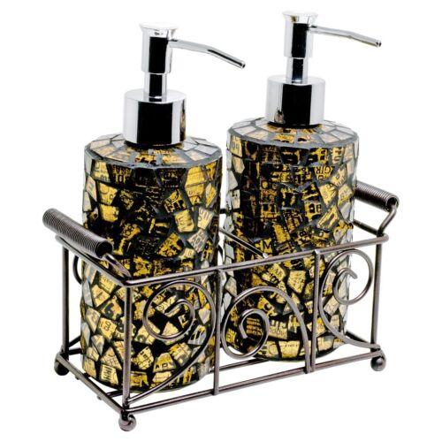 2er Set Mosaik Glas Zylinderförmige Seife Spender