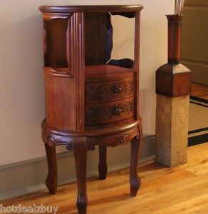 carved end table wood elegant round accent nightstand storage antique cabinet. Black Bedroom Furniture Sets. Home Design Ideas