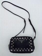 Prada Saffiano Lux Borchi Black Studded Leather CrossBody Bag w/Silvertone+FREE