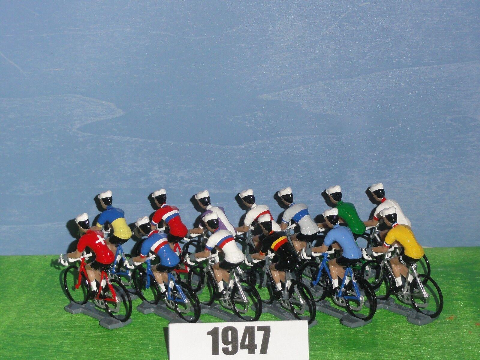 Figurine cyclist-exoletus figure-tdf 1947 complete (13) figurines