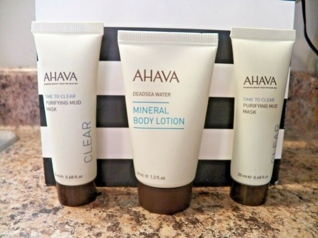 2x AHAVA Purifying Mud Mask Time To Clear 20 ml ea & Mineral Body Lotion 40ml