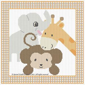 Safari Animals Baby Cross Stitch Pattern Chart 10 Quot X 10