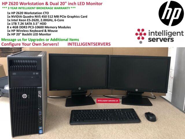 Station de travail HP Z620, E5-2620 6-Core, 32 Go, 1 To HDD, NVS 450, 2x 20