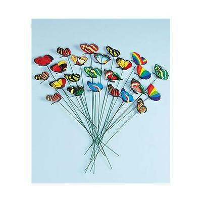 Set of 24 Garden Yard Planter Colorful Whimsical Butterfly Stakes New