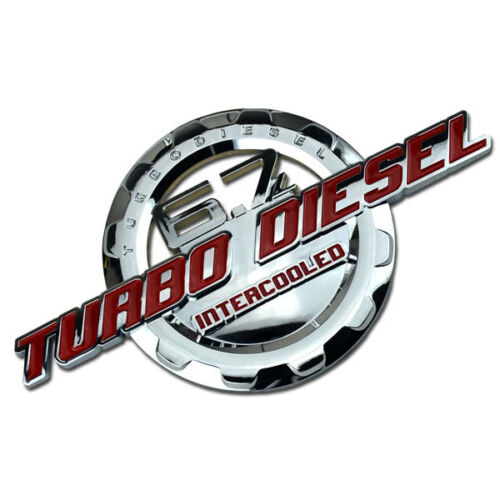 RED//CHROME 6.7 TURBO DIESEL MOTOR BADGE FOR TRUNK HOOD DOOR TAILGATE BED B