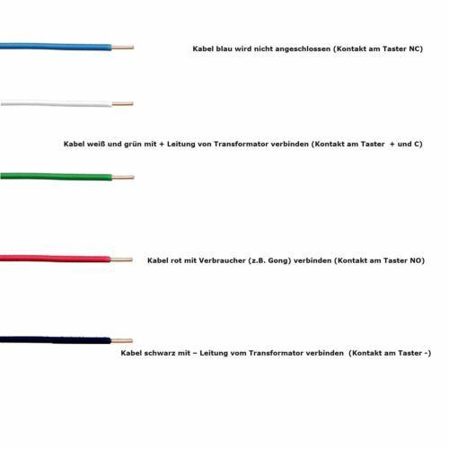 TronicXL Türklingel Alu Klingel schild anthrazit mit Beleuchtung blau Unterputz