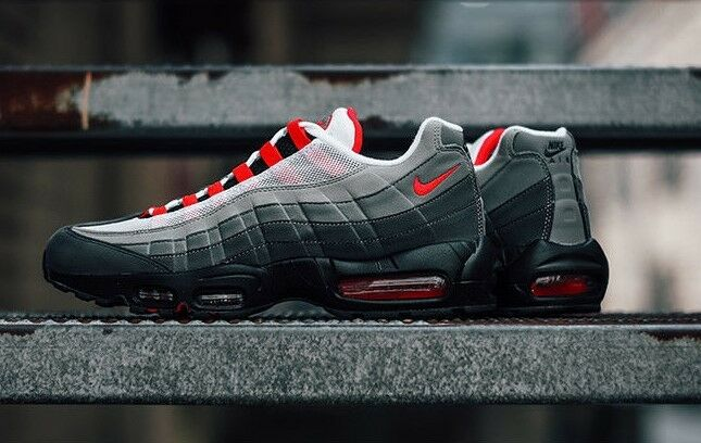 100% authentic f91df 676b5 ... uk authentique nike air max 95 og og 95 blanc solaire rouge granite  poussière at2865 100
