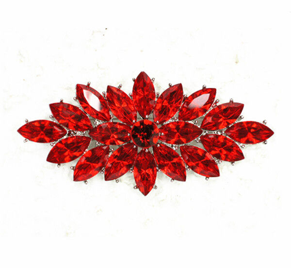 Vintage Style Red Crystal Flower Bouquet Party Prom Wedding Brooch ...