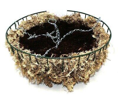 """16"""" (40cm) Da Giardino In Metallo Verde Da Cesto Sospeso Con Torba Compost, Muschio, Catena & Hook-"""