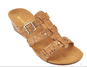 Vionic Orthaheel PARK RADIA Adjustable Strap Wedge Slides GOLD CORK 10M NIB