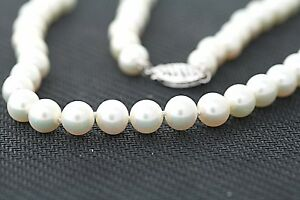 6-5-7mm-Genuine-Cultured-Freshwater-White-Pearl-14K-WHITE-GOLD-Necklace-18-inch