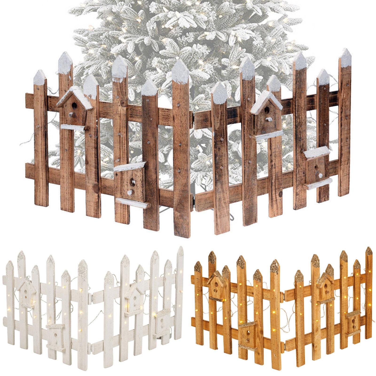Rustikal Holzern Schnee Zaun 30 LED Lichter Weißnachten Weißnachtsbaum Ständer