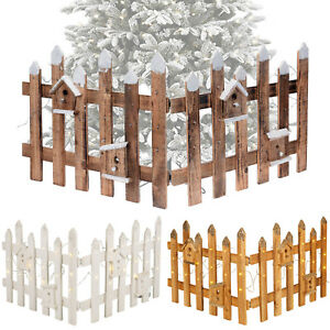 Details About Rustic Wooden Snow Fence 30 Led Lights Christmas Xmas Tree Skirt Stand Cover New