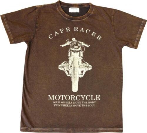 Same Same Cafe Racer T-Shirt Brown Slim Fit