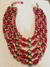 Vintage signed Hong Kong red and gold acrylic bead 5 strand necklace