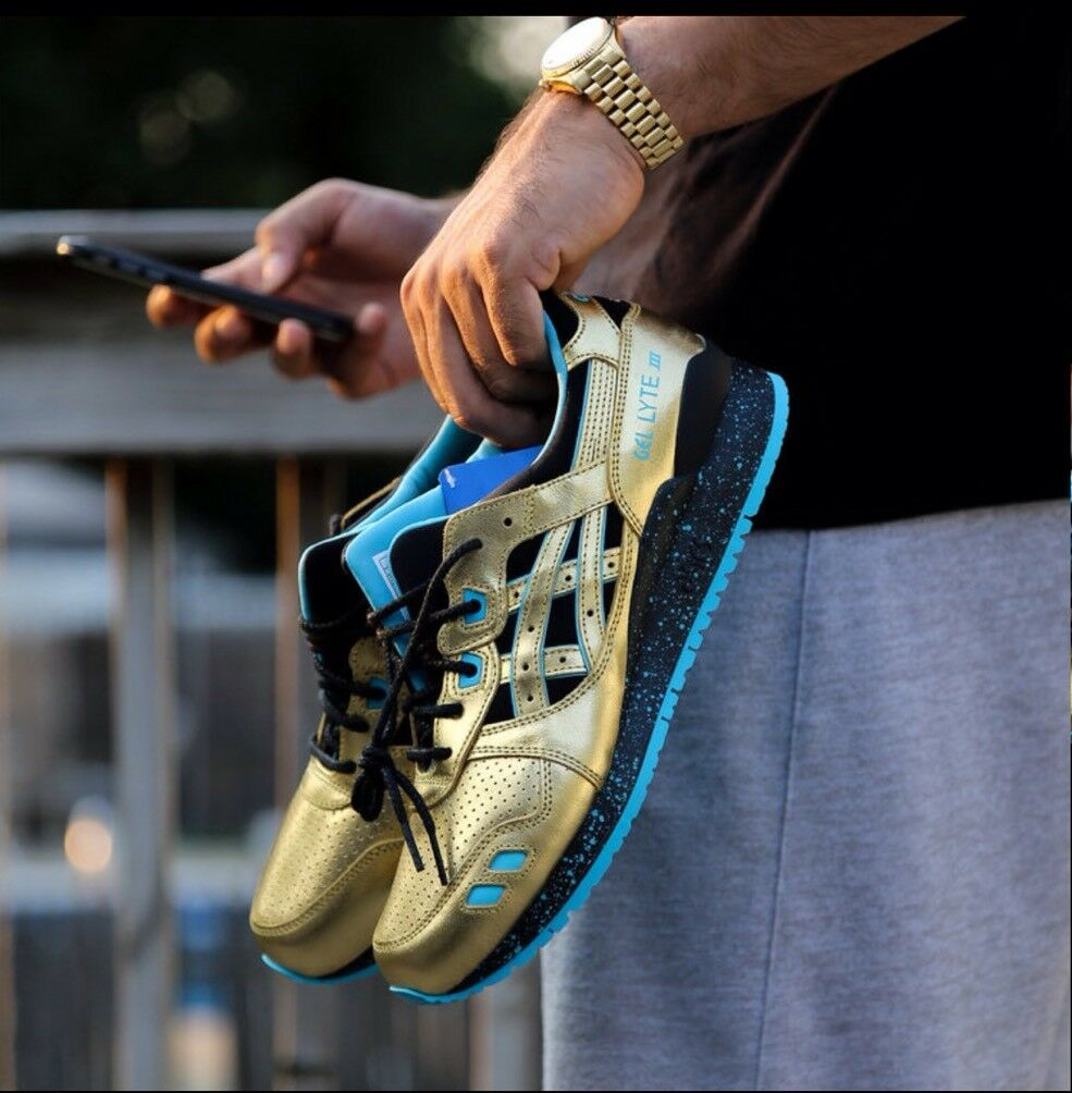 Asics X Wale X Villa Gel Lyte III Mens Gold Leather Lace Up Sneakers Shoes