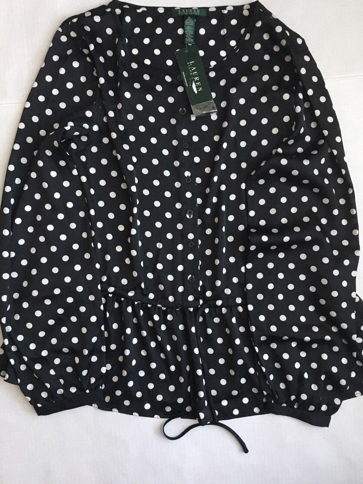 Lauren Ralph Lauren schwarz & Weiß Polka-Dot Long Sleeve Peplum Blouse Sz XL
