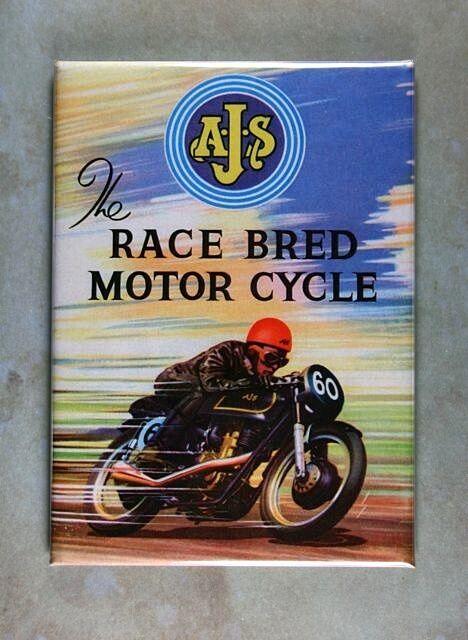 "Vintage British Motorcycle Ad Fridge Magnet 2 1/2"" x 3 1/2""  AJS Race Breed 1960"